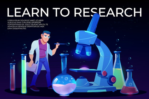 Learn to research landing page with man scientist