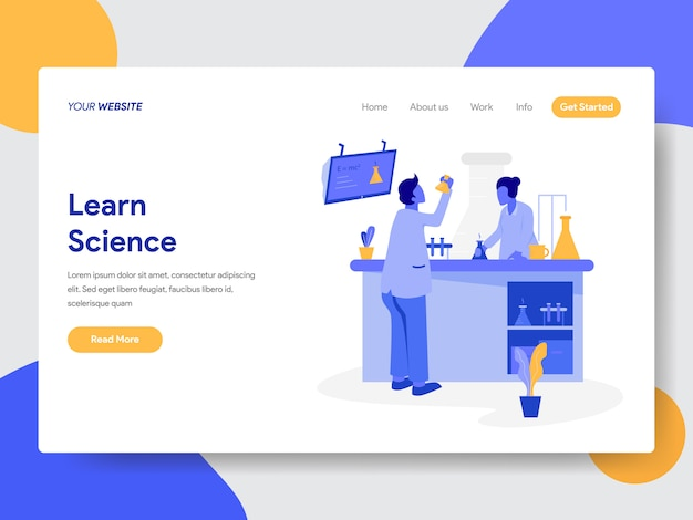 Learn science illustration for web pages