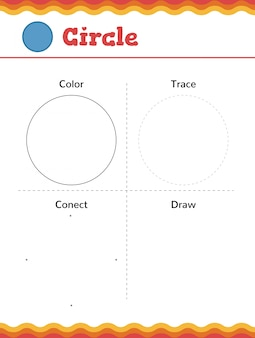 Learn shapes and geometric figures. preschool or kindergarten worksheet. vector illustration