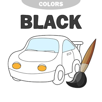 Узнай цвета - черный. книжка-раскраска с мультяшным автомобилем. страница для детей