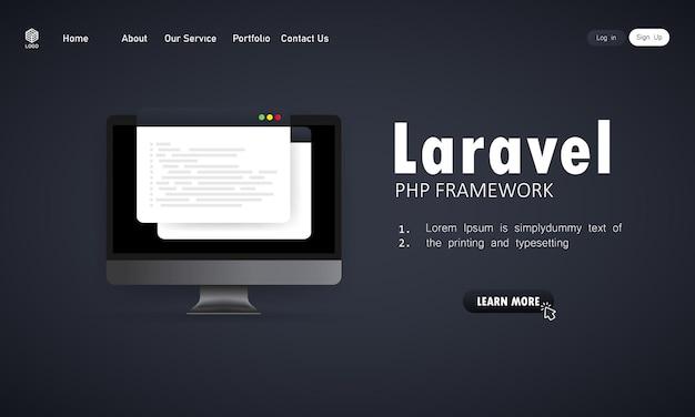Laravel php frameworkプログラミング言語をコンピューター画面にコーディングする方法、プログラミング言語のコード図を学びます。孤立した背景上のベクトル。 eps10。