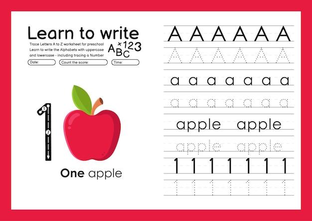 アルファベットのトレースワークシートとリンゴで数字をトレースする方法を学ぶ
