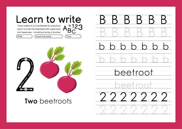 Bビートルートでアルファベットトレースワークシートとトレース番号を書くことを学ぶ
