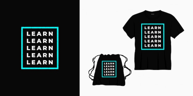 Tシャツ、バッグ、または商品のタイポグラフィレタリングデザインを学ぶ