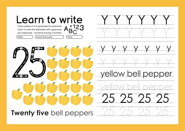 Learn to write alphabet tracing worksheet and tracing numbers with y yellow bell pepper