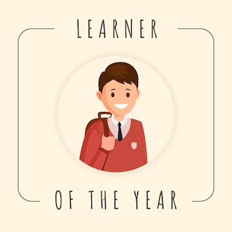 Learner of year banner template. cartoon smiling pupil, schoolboy photograph in frame