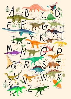 Изучение алфавитов с динозаврами. азбука динозавров. векторные иллюстрации