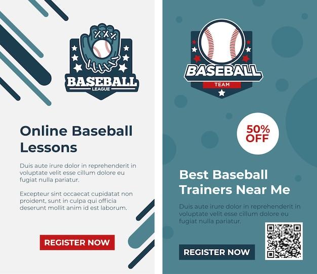 온라인 수업, 수업 및 코스로 야구를 배웁니다. 스포츠 연습 및 기술 향상, 교육 훈련. 웹 사이트 또는 웹 페이지 템플릿, 방문 페이지 또는 소셜 미디어 스토리, 벡터