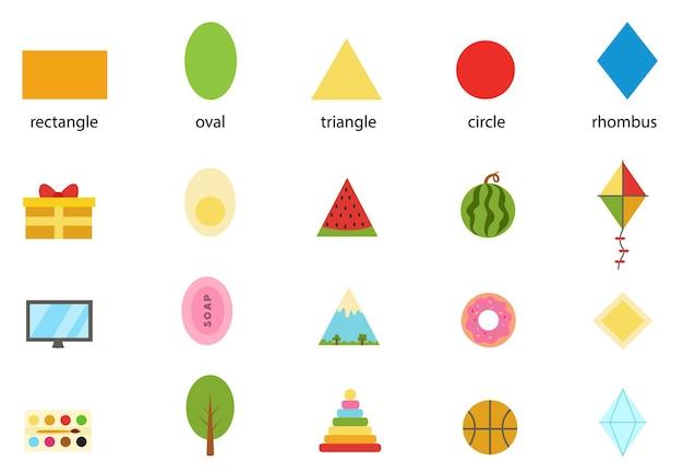 Learning basic geometric form for children. set of all basic shapes.