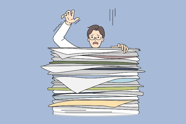 Learning boy behind huge stack of exam books. vector concept illustration of exhausted student preparing for exams and falling of books pile.