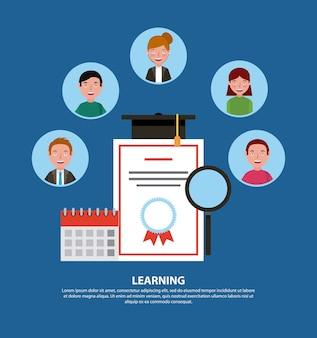 Learning certificate graduation cap calendar people