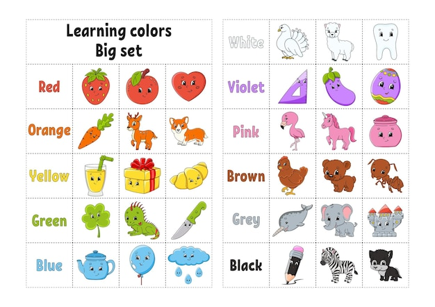 Learning colors education developing worksheet