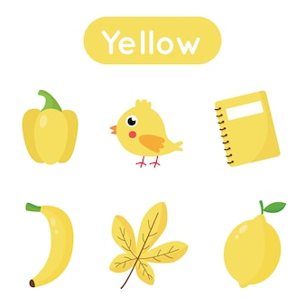 Learning colors flash card for preschool kids. yellow color. all objects in yellow color. printable worksheet.