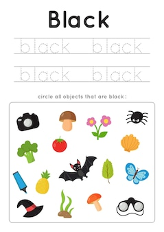 Learning colors for kids. black color flash card. educational material for children. set of objects in black color.