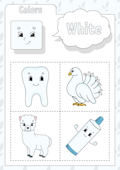 Learning colors. white color. flashcard for kids.