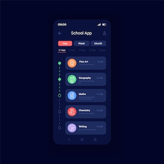 Learning courses list night mode smartphone interface vector template