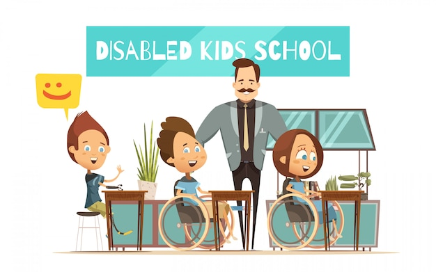 Learning of disabled kids design with boys girl at desks and smiling teacher cartoon