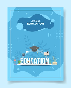 Изучение концепции образования людей вокруг слова образование крышка шляпа книга микроскоп калькулятор для шаблона