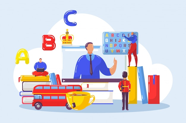 Изучение английского иностранных языков с учителем онлайн в группе студентов иллюстрации.