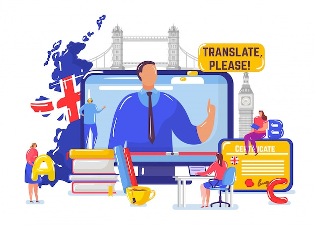 Learning english online , cartoon tiny student people learn english on distance course, education on white