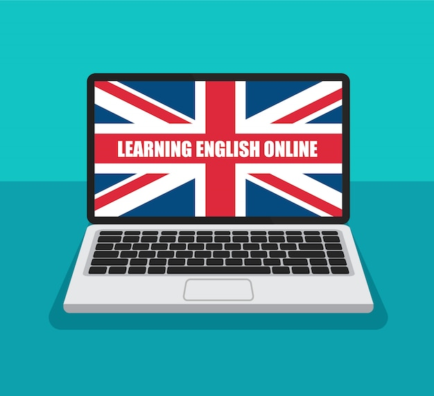 Learning english online. great britain flag on a laptop display in trendy flat style. summer english courses concept.