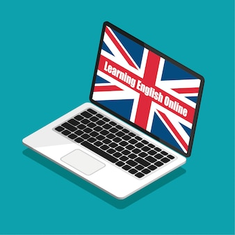 Learning english online. great britain flag on a laptop display in trendy isometric style. summer english courses concept.