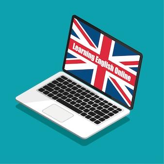 オンラインで英語を学ぶ。トレンディなアイソメ図スタイルのラップトップディスプレイ上のイギリスの旗。夏の英語コースのコンセプトです。