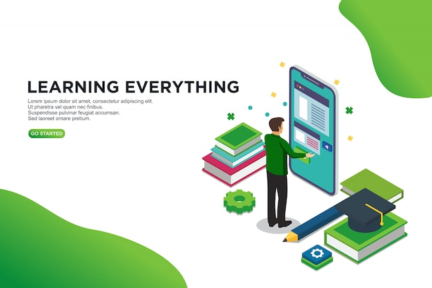 Learning everything isometric vector illustration concept