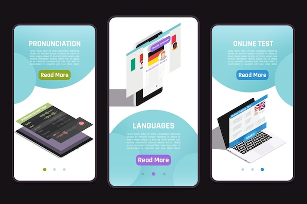 Learning foreign language 3 isometric mobile screens set with online test personal tutor pronunciation mastering