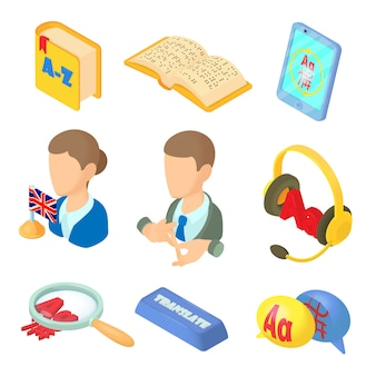 Learning foreign languages icons set in cartoon style