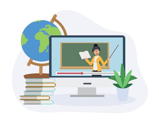 가정 개념에서 학습, 온라인 학습, 전자 학습 화상 통화. 원격 learning.flat 벡터 2d 만화 그림입니다.