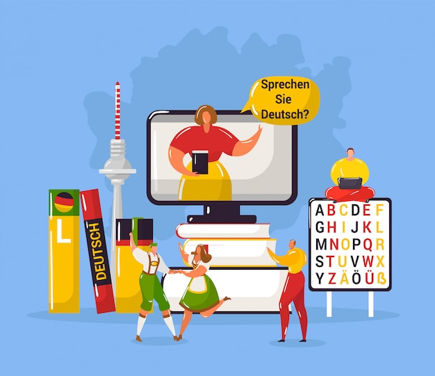 Learning german language in germany education webpage template  illustration.