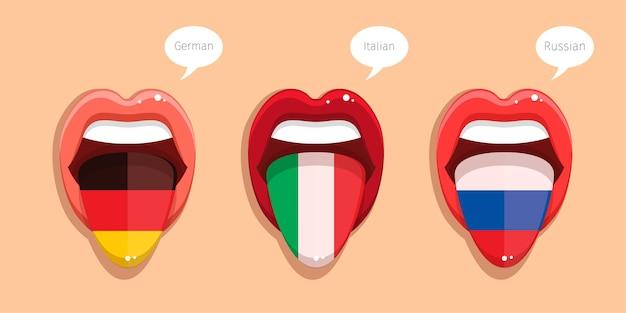 Learning german language italian language and russian language