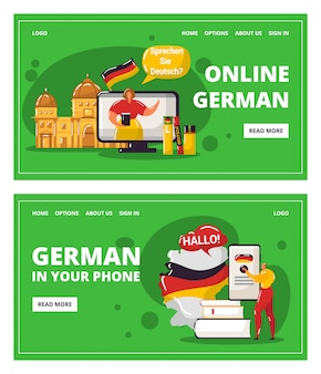 Learning german language online with teacher, education in your telephone  illustration.