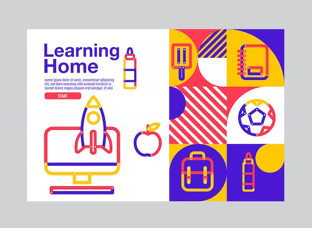 학습 홈, 교육 배너 템플릿, 일러스트.