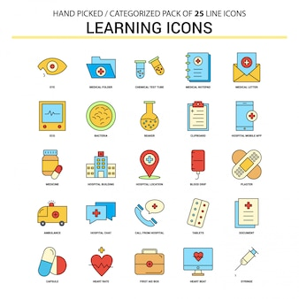 Learning icons flat line icon set