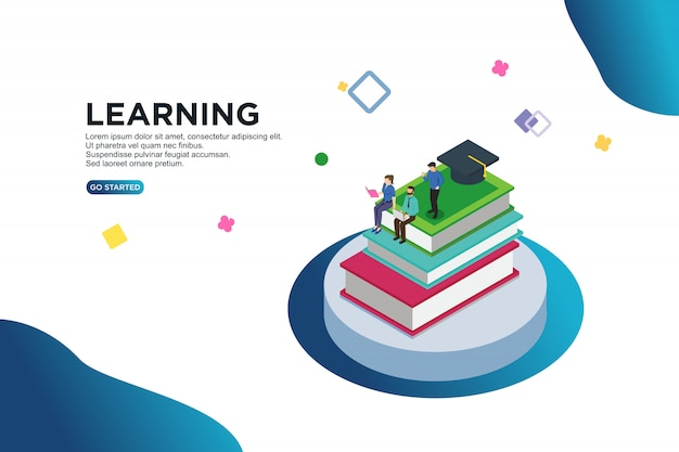 Learning isometric vector illustration concept