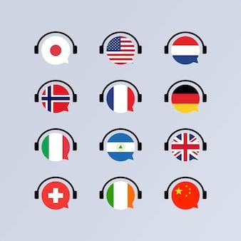 학습 언어 온라인 코스 세트. 오디오 북 개념. 언어 학교 개념.