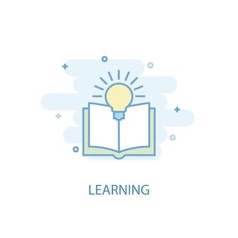 Концепция линии обучения. значок простой линии, цветные рисунки. обучение символ плоский дизайн. может использоваться для ui / ux