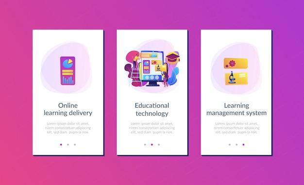 학습 관리 시스템 앱 인터페이스 템플릿.