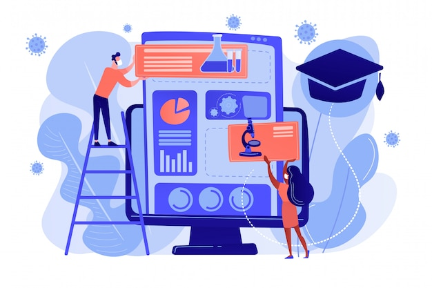Learning management system for home-schooling concept.