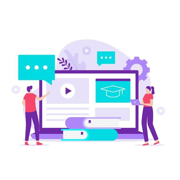 학습 관리 시스템 일러스트레이션 디자인 컨셉입니다. 웹사이트, 방문 페이지, 모바일 애플리케이션, 포스터 및 배너용 일러스트레이션