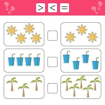 수학, 숫자 학습 - 더 많거나 적거나 같음을 선택하십시오. 아이들을 위한 작업, 아이들을 위한 워크시트. 여름 아이템의 개수를 세고 결과 쓰기