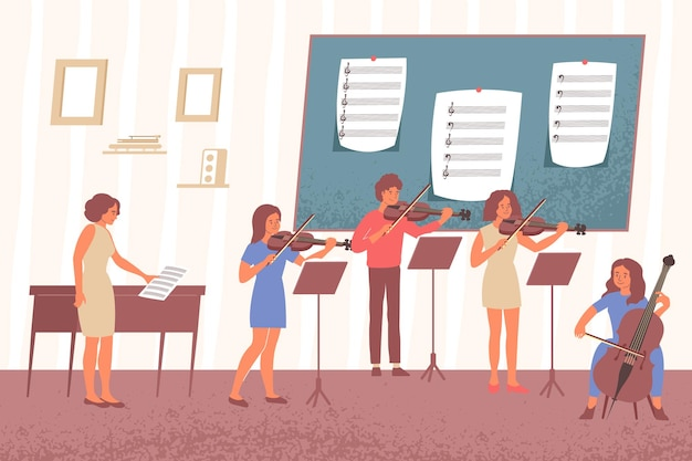 Learning music notes flat composition with indoor scenery of academic music class with desks and people illustration