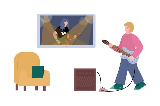 기타 평면 그림을 연주하는 남자와 온라인 음악 학습