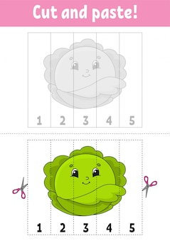 Learning numbers 1-5. cut and glue. cabbage character.
