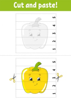 Learning numbers 1-5. cut and glue. pepper character. education developing worksheet.