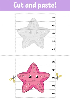 Learning numbers 1-5. cut and glue. starfish character. education developing worksheet.