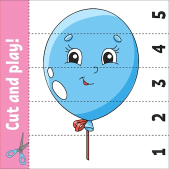 Learning numbers 15 cut and play education worksheet game for kids