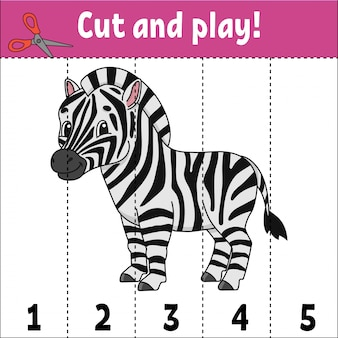 Learning numbers, cut and play with a zebra
